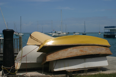 Boats on dock in Christiansted, St. Croix.