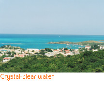 The crystal-clear water of the Caribbean